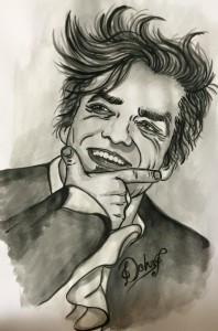 """Marco """"Morgan"""" Castoldi (Debora Pagano, acquerello su cartoncino )"""